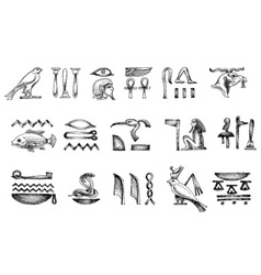 Ancient Egyptian hieroglyphs doodle set vector image
