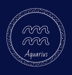 Aquarius astrology zodiac sign isolated in circle vector