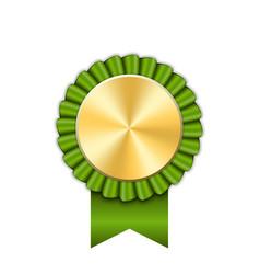 award ribbon gold icon golden green medal design vector image