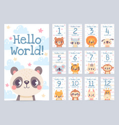 Baby month cards with animals monthly milestone vector
