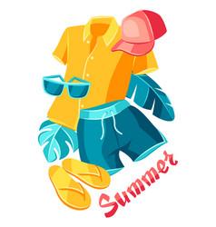 background with beachwear and swimwear vector image