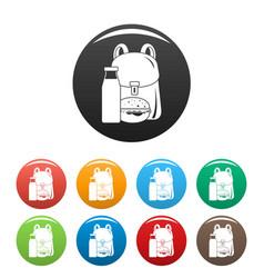 backpack milk burger icons set color vector image
