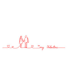 be my valentine lettering red line minimalistic vector image