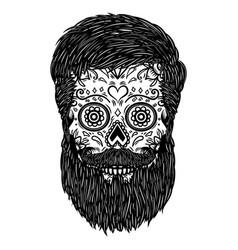 bearded sugar skull design element for poster vector image