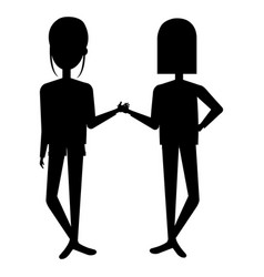 beautiful girls silhouette avatars characters vector image