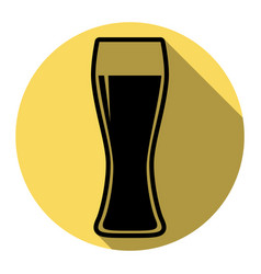 beer glass sign flat black icon with flat vector image