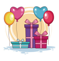 birthday gifts and balloons vector image