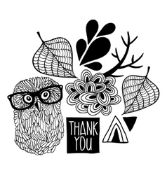 Black and white thankful print vector