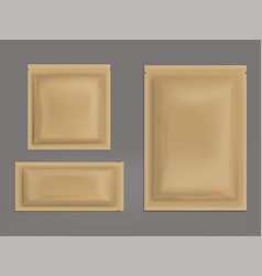 Blank brown sealed sachets realistic set vector