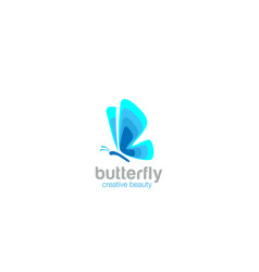 blue abstract butterfly logo fashion beauty salon vector image