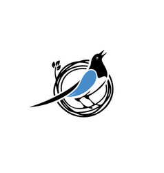 blue-bird-nest-logo vector image
