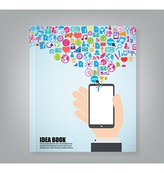 Book smart phone and cloud technology vector