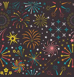 bright explosions fireworks seamless pattern vector image