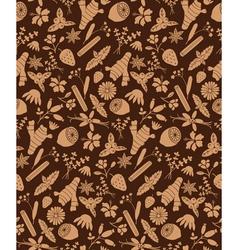 Brown herbal ingredients pattern vector