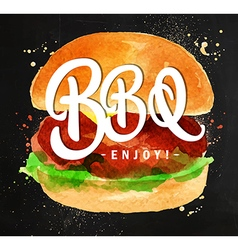 Burger bbq chalk vector