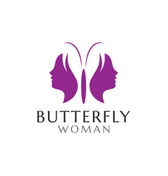 Butterfly woman logo design template vector