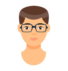 Cartoon character in glasses avatar young man vector