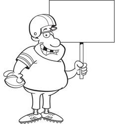 Cartoon football player holding a sign vector
