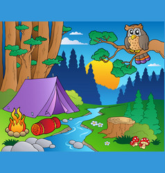 Cartoon forest landscape 5 vector