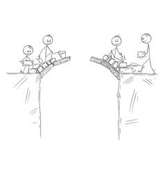 cartoon two groups men or businessmen vector image