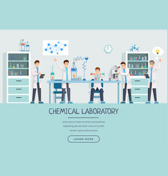 Chemical laboratory workers landing page template vector