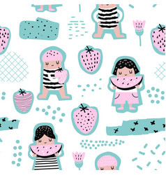 childish seamless pattern with girls with fruits vector image