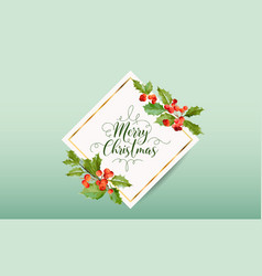christmas winter holly berry banner graphic vector image