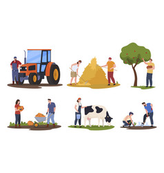 Collection people farm workers flat vector