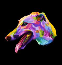 Colorful greyhound dog on geometric pop art style vector