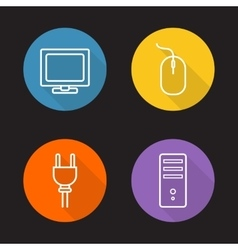 Computer electronics flat linear icons set vector