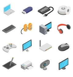 Computer icons set isometric 3d style vector