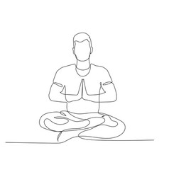 Continuous one line man sitting in lotus position vector