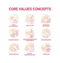 Core values concept icons set vector