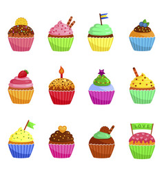 cupcakes icons set muffins decorated with cookie vector image