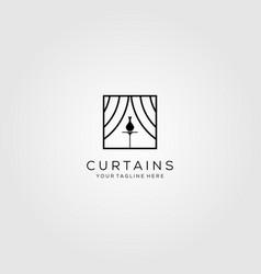 Curtains logo line art art show design vector