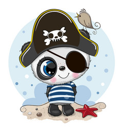 Cute cartoon panda in a pirate hat vector