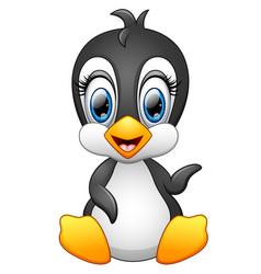 Cute cartoon penguin waving vector