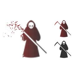 Dust pixelated halftone scytheman icon vector