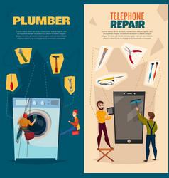 Electronics repair vertical banners set vector
