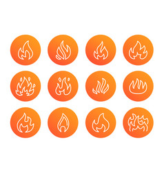 fire flat line icons flame shapes silhouette vector image