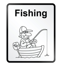 Fishing information sign vector