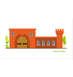 Flat large fairy tale castle medieval vector