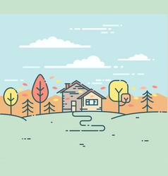 Flat linear a suburban house in the autumn vector