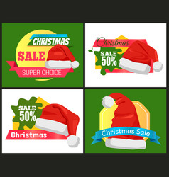 Four colorful christmas sale advertising cards vector
