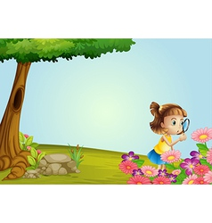 Girl in nature vector