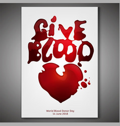 give blood poster vector image