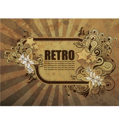 Grunge retro floral frame vector