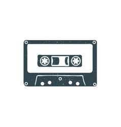 Hand drawn 90s themed badge with audio cassette vector