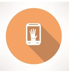 hand in smartphone icon vector image