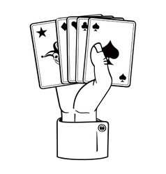 hand with cards vector image
